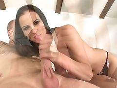Black-haired With Big Hooters Shows Her Love For Providing Handjob