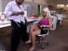Black On Milky Footfetish In The Office With Big-chested Bridgette B
