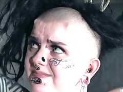 Almost Crucified Right Above The Floor Luna Lavey Gets Twat Masturbated
