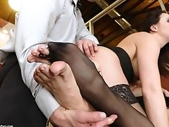 Lengthy Gam Honey In Stockings Chanel Preston  Gets Doggystyled