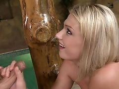 Blonde Lucy Heart Has Fire In Her Eyes As She Gets Her Pretty Face Covered In Jizz
