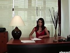Sexy Assistant Betty Luvs Masturbating Her Bald Muff In The Office
