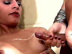 Latina Tgirls Party Around And Squirt Cum On Shemale Boobs
