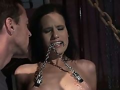 Amanda Honey Coerced To Inhale Master's Pipe And To Serve Her Taut Assets To The Painful Ordeal For Him