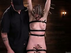 Obedient Ashley Lane Gets Ball-gagged And Immobilized With Lots Of Ropes