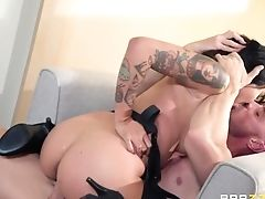 Brenna Sparks In Ripped Pantyhose Is Fucked By Bald Headed Macho Johnny Sins