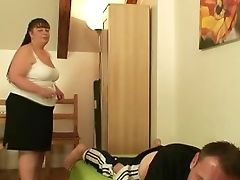 Lush Mom Guzzles His Shaft When His Wifey Left