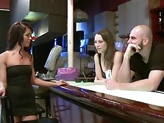 Effortless Nymph Flashes Her Tits And Gargles A Dick In The Bar